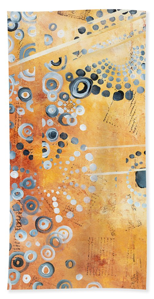 Art Beach Towel featuring the painting Abstract Decorative Art Original Circles Trendy Painting By Madart Studios by Megan Duncanson