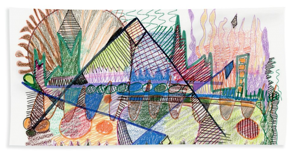 Abstract Beach Towel featuring the drawing Abstract Drawing One by Lynne Taetzsch