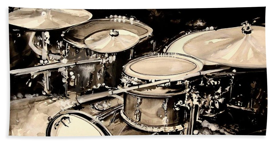 Drums Beach Towel featuring the painting Abstract Drum Set by J Vincent Scarpace