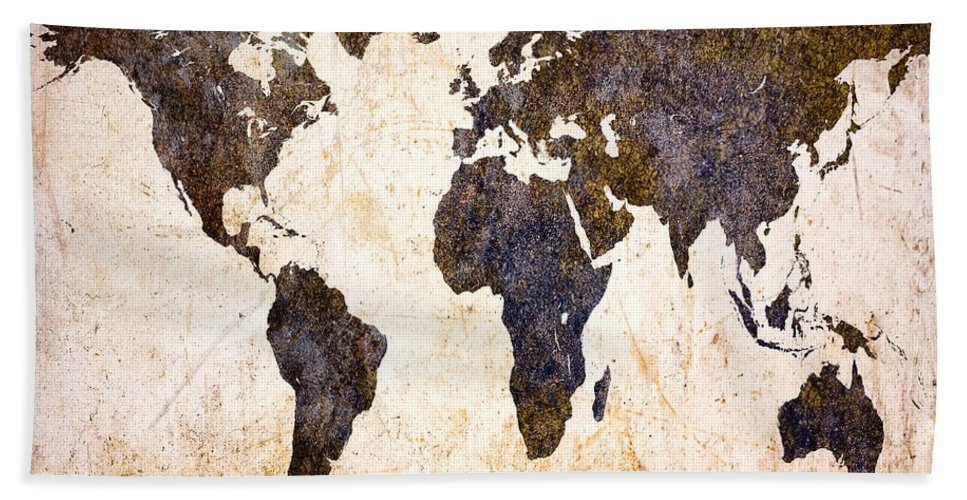 Map Beach Towel featuring the digital art Abstract Earth Map by Bob Orsillo