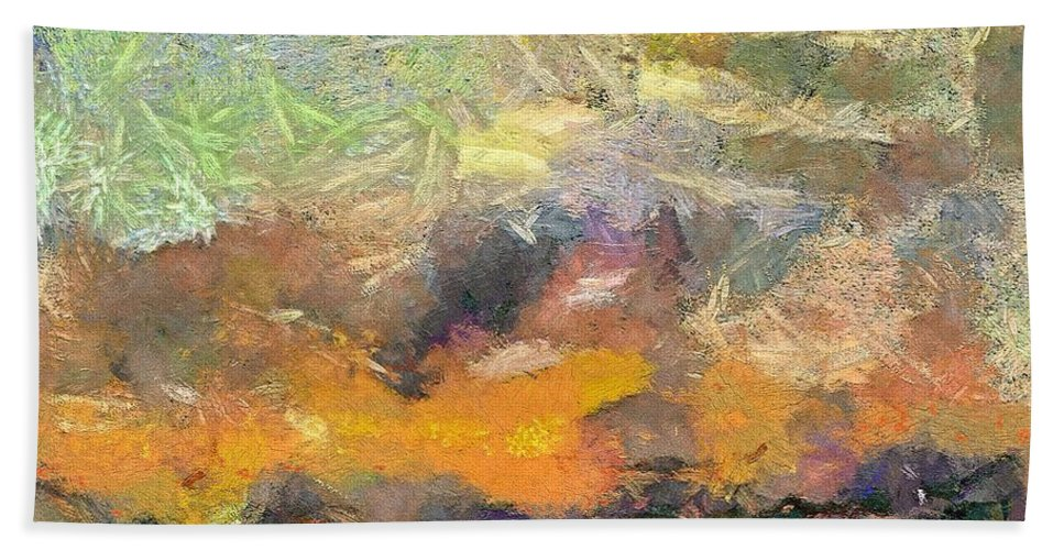 Abstract Art Beach Towel featuring the painting Abstract Landscape II by Dragica Micki Fortuna