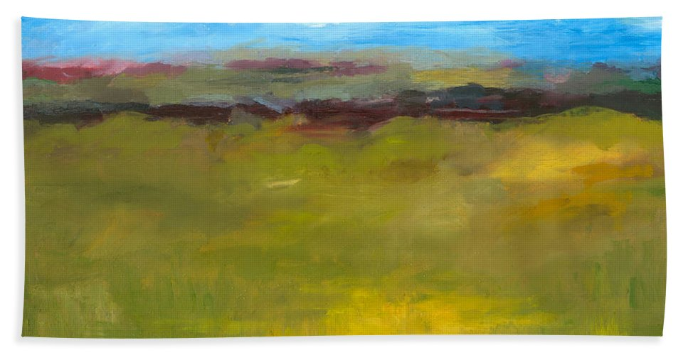 Abstract Expressionism Beach Towel featuring the painting Abstract Landscape - The Highway Series by Michelle Calkins