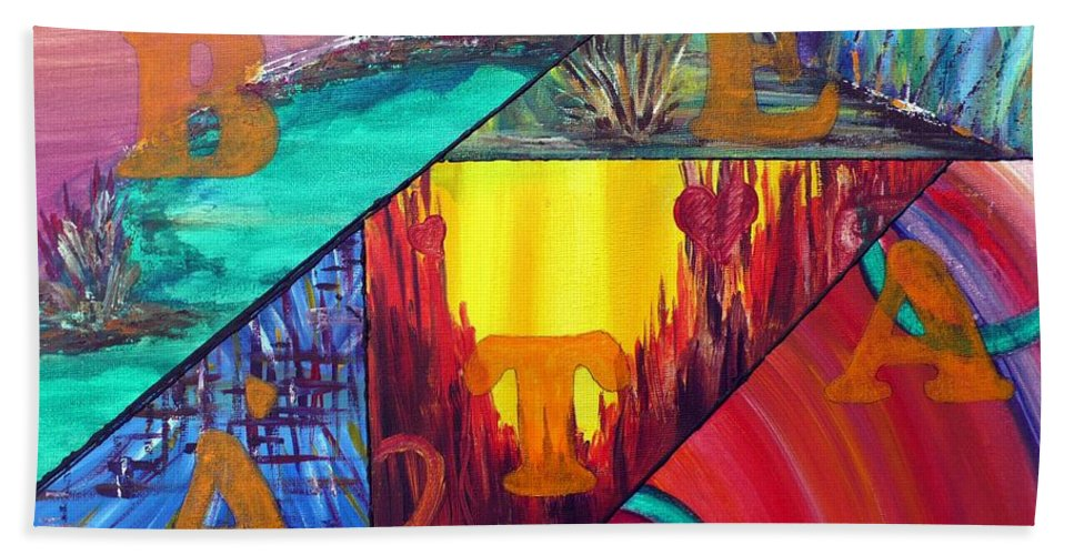Landscape Beach Towel featuring the painting Abstract Landscapes by Anna Ruzsan