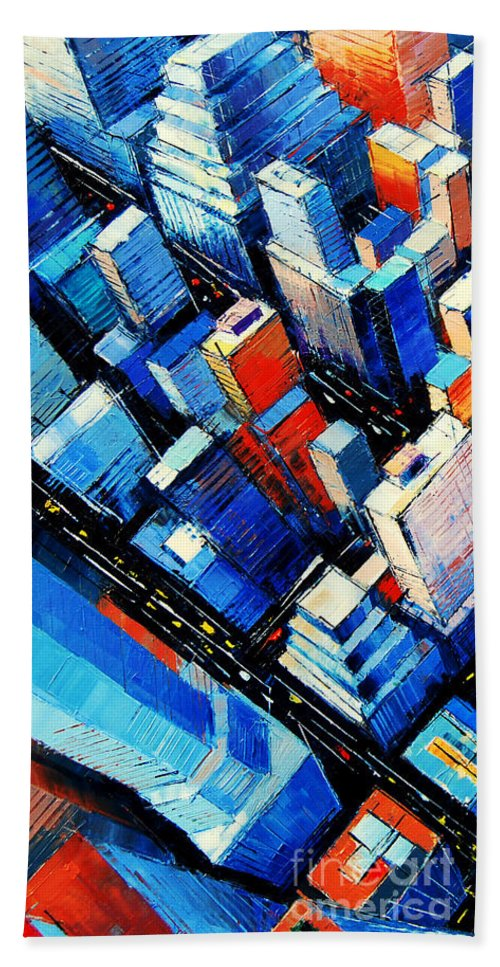 Abstract New York Sky View Beach Towel featuring the painting Abstract New York Sky View by Mona Edulesco