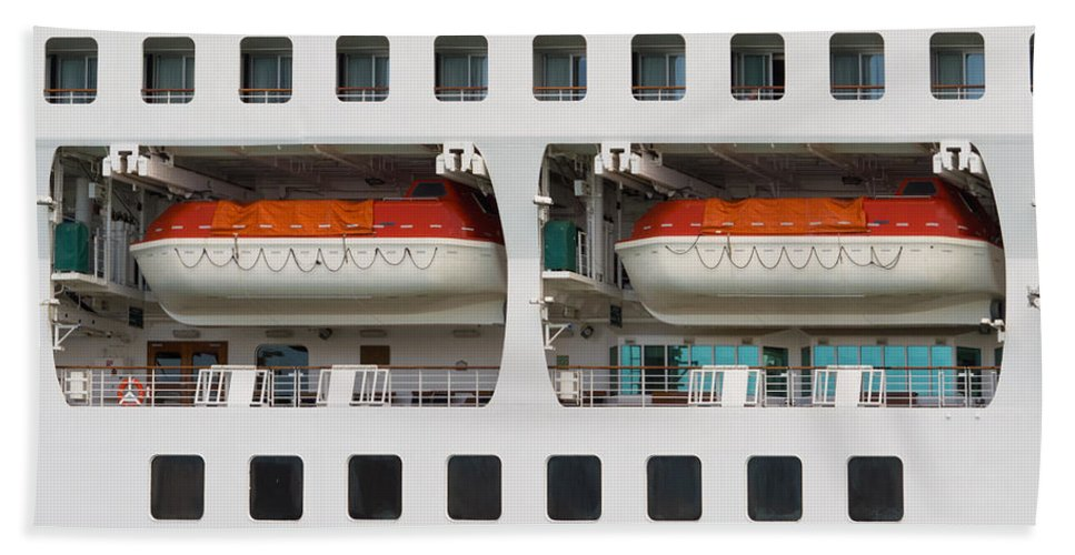 Abandon Beach Towel featuring the photograph Abstract Of Lifeboats On A Large Cruise Ship by Stephan Pietzko
