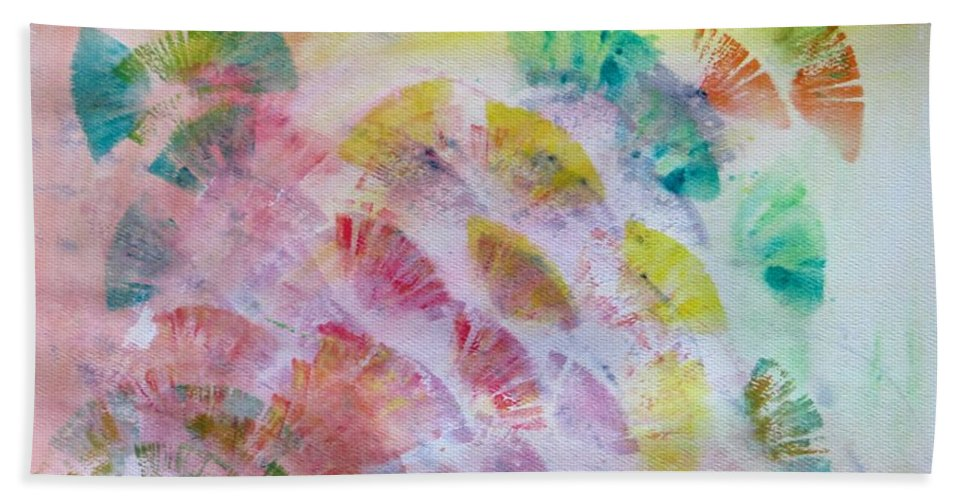 Coloured Petals Beach Towel featuring the painting Abstract Petals by Sonali Gangane