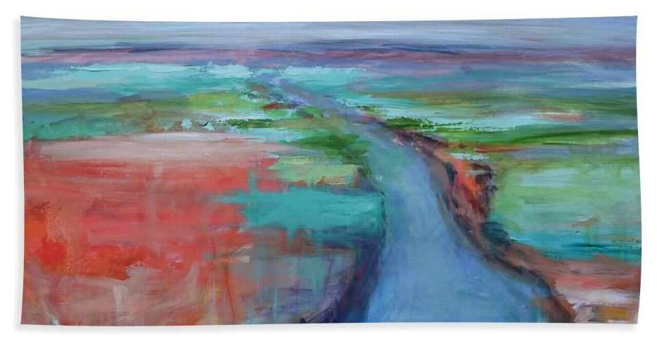 Winding River Beach Towel featuring the painting Abstract River by Donna Tuten