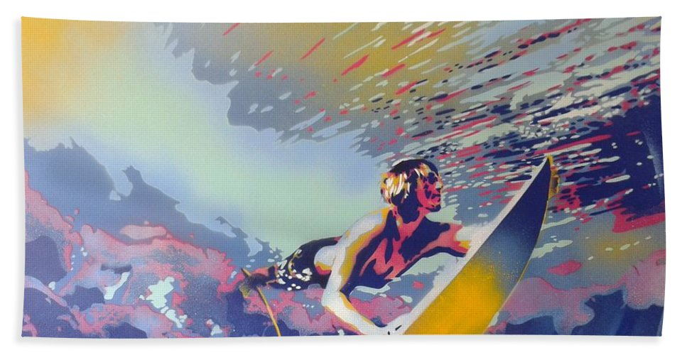 Surfing Beach Towel featuring the painting Abstract Surf by Leon Keay