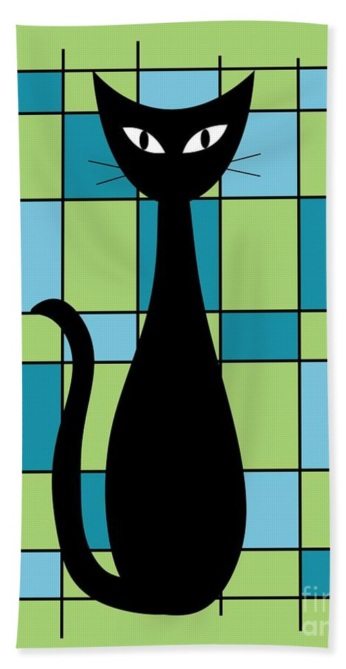 Abstract Beach Towel featuring the digital art Abstract With Cat In Green by Donna Mibus
