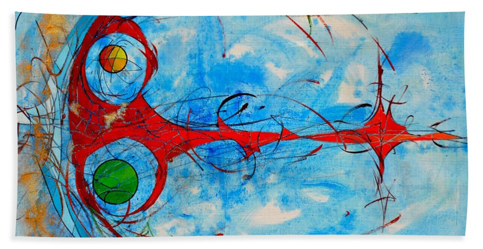 Couleur Beach Towel featuring the painting Abstraction 61 by MICHAUX Michel