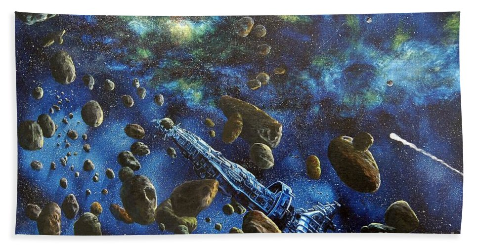 Canvas Beach Towel featuring the painting Accidental Asteroid by Murphy Elliott
