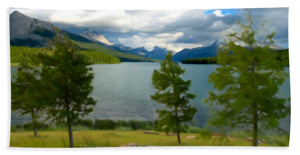 Woods Beach Towel featuring the painting Across The Lake by David Head