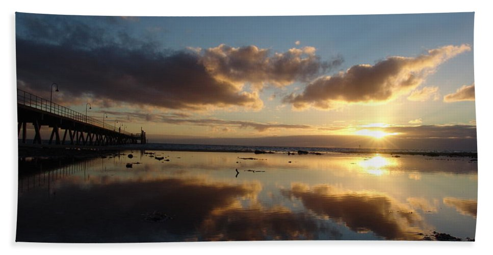 Adelaide Beach Towel featuring the photograph Adelaide Sunset by Ian Mcadie