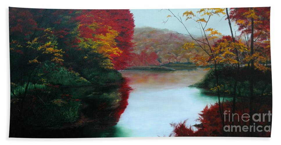Dlgerring Beach Towel featuring the painting Adirondack Autumn by D L Gerring