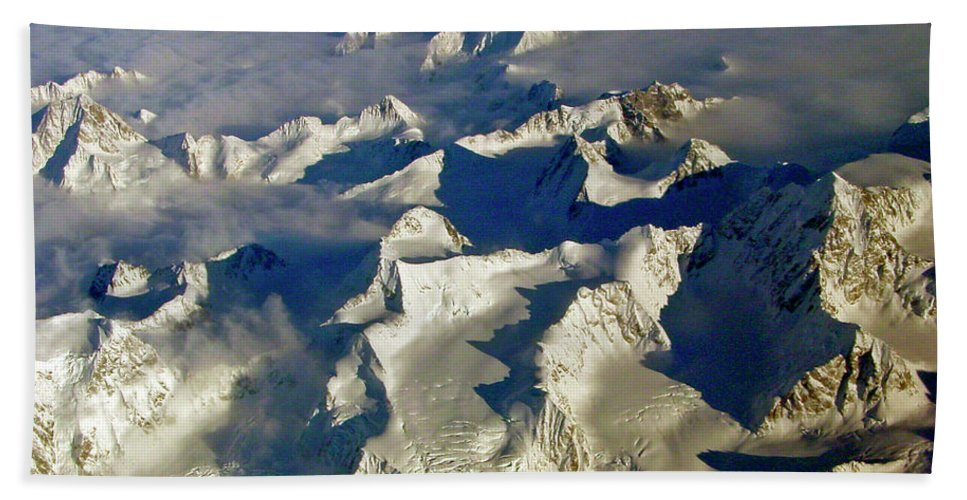 Aerial Photography Beach Towel featuring the photograph Aerial Ice Fields by Jeremy Rhoades