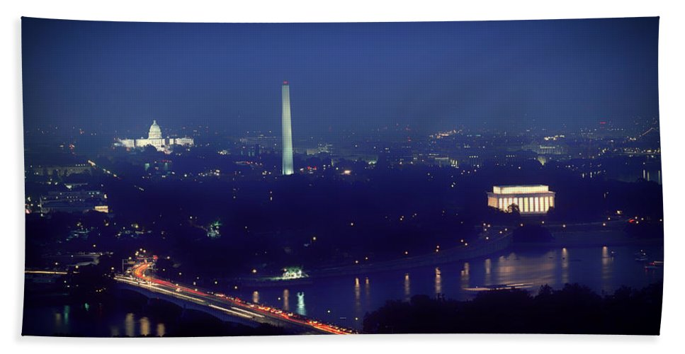 Aerial Night View Of Washington Dc Beach Towel For Sale By Mountain