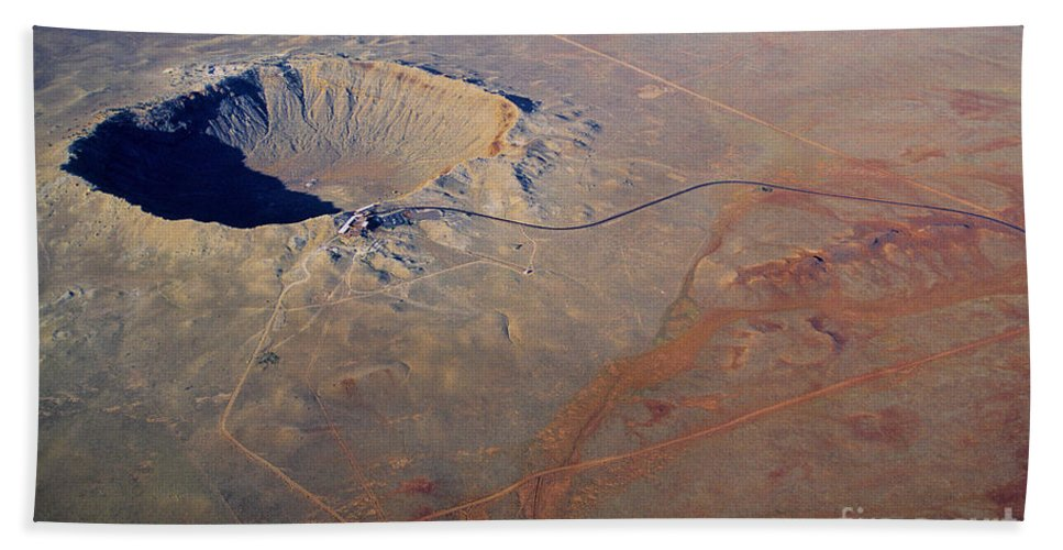 Science Beach Towel featuring the photograph Aerial Of Meteor Crater by Adam Sylvester