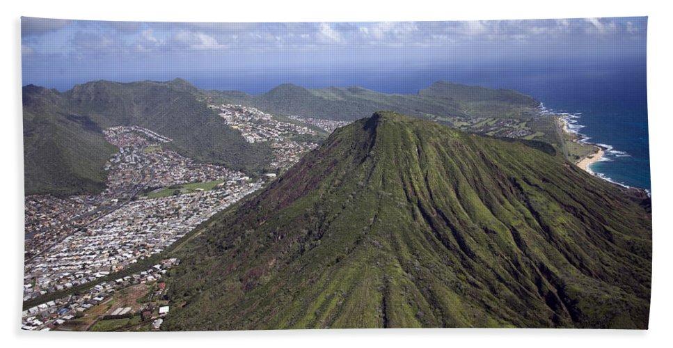 Carol Highsmith Beach Towel featuring the digital art Aerial View Honolulu Hawaii by Carol Highsmith