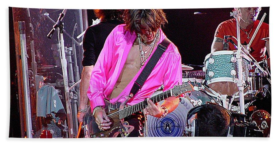 Aerosmith Beach Towel featuring the photograph Aerosmith - Joe Perry -dsc00121 by Gary Gingrich Galleries