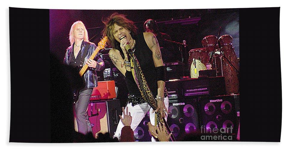 Aerosmith Beach Towel featuring the photograph Aerosmith - Steven Tyler - Dsc00072 by Gary Gingrich Galleries