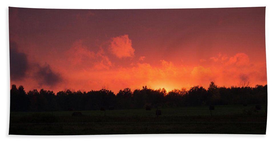 Sunset Beach Towel featuring the photograph Aflame by Linda Kerkau