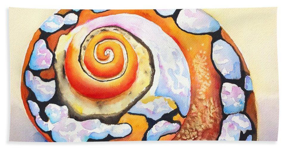 Shell Beach Towel featuring the painting African Turbo Shell by Carlin Blahnik CarlinArtWatercolor