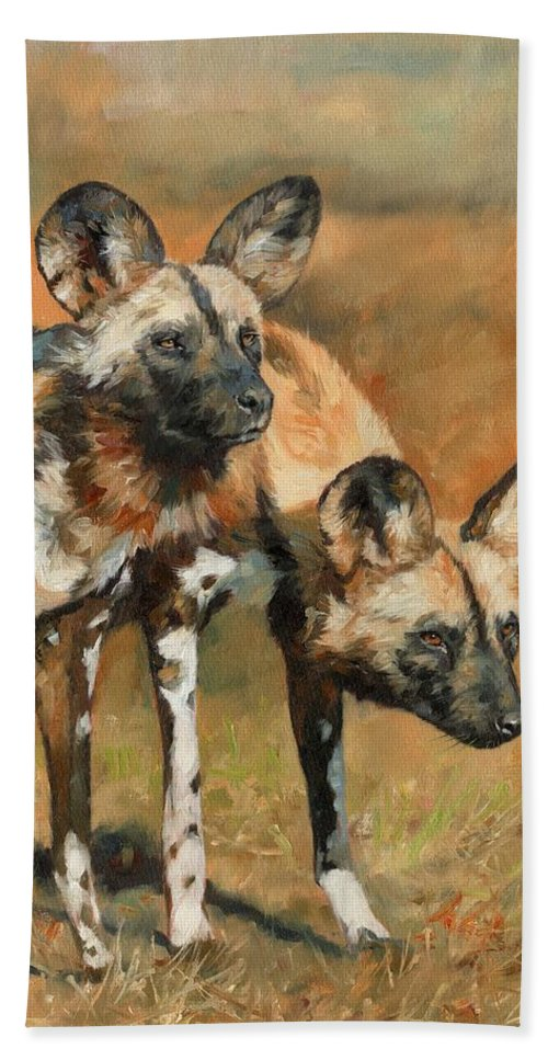 Wild Dogs Beach Towel featuring the painting African Wild Dogs by David Stribbling