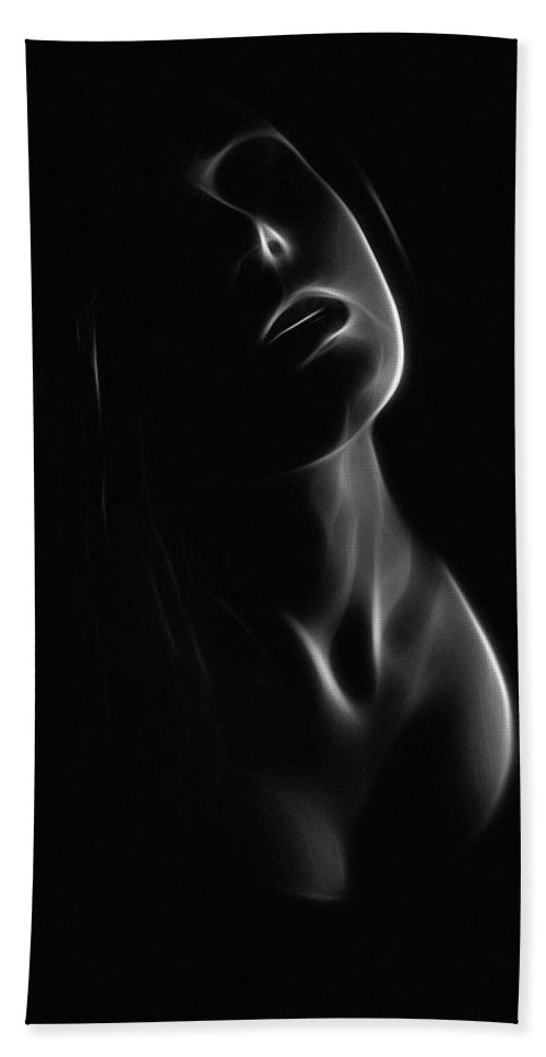Female Woman Girl Dark Abstract Erotic Face Light Black White Expressionism Beach Towel featuring the painting After Midnight by Steve K