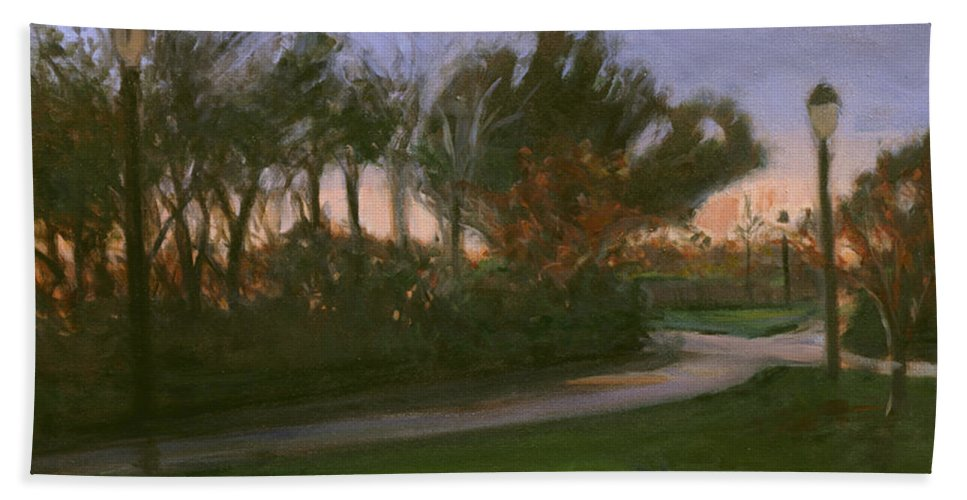 June Beach Towel featuring the painting After The Rain by Sarah Yuster