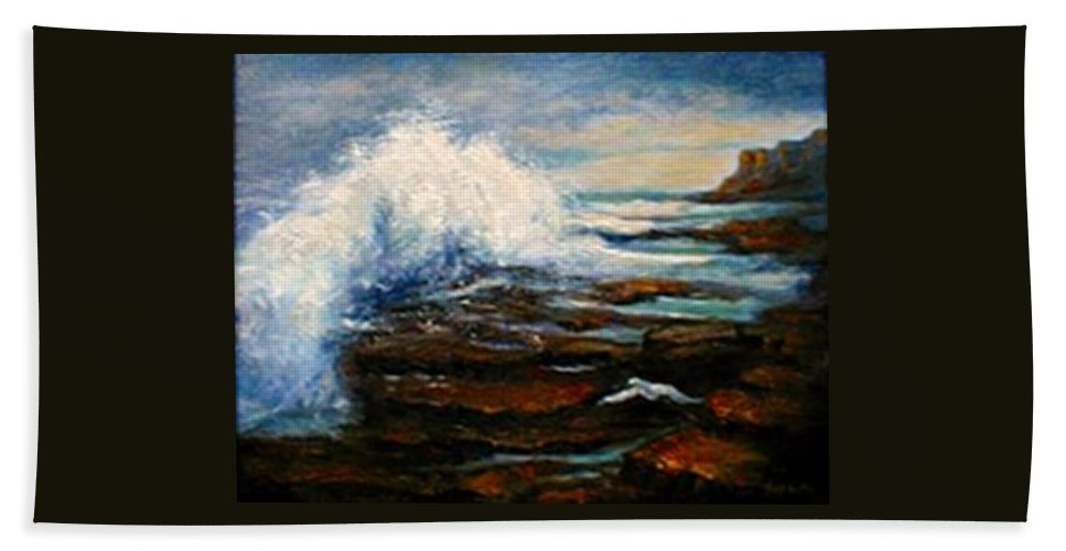 Seascape Beach Towel featuring the painting After The Storm by Gail Kirtz