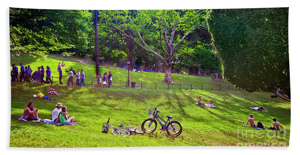 Park Beach Towel featuring the photograph Afternoon In The Park With Friends by Madeline Ellis