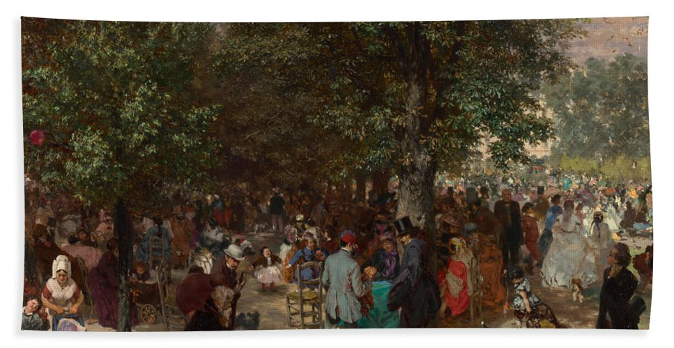 Afternoon In The Tuileries Gardens Beach Towel featuring the painting Afternoon In The Tuileries Gardens by Adolph Friedrich Erdmann von Menzel