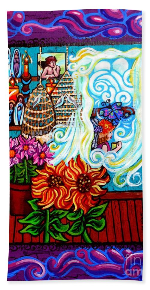 The Unfastened Heart Beach Towel featuring the painting Afternoon Tea By The Window by Genevieve Esson