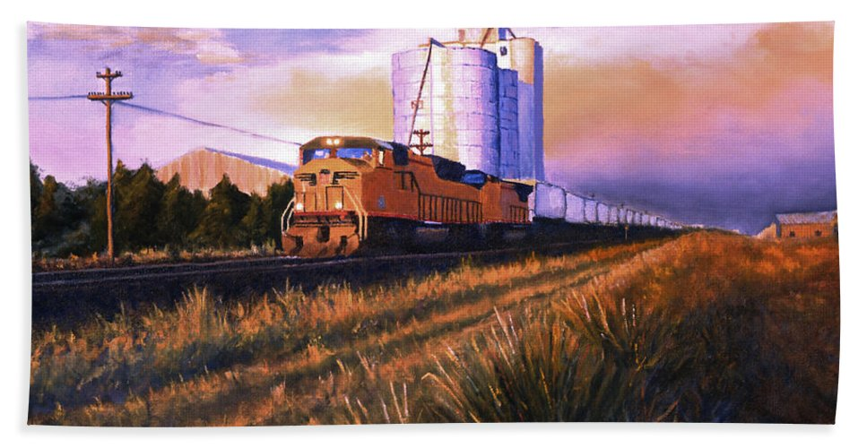 Train Beach Towel featuring the painting Afternoon Train through Potter by Jerry McElroy