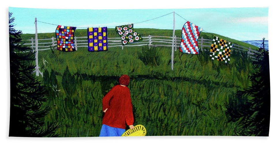 Barbara Griffin Beach Towel featuring the painting Airing Grandmother's Quilts by Barbara Griffin