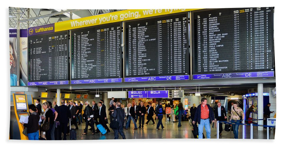 Airlines Departure Board Beach Towel featuring the photograph Airport Departure Board Frankfurt Germany by Jeff Black