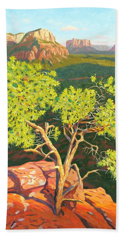 Pinion Pine Tree Beach Towel featuring the painting Airport Mesa Vortex - Sedona by Steve Simon