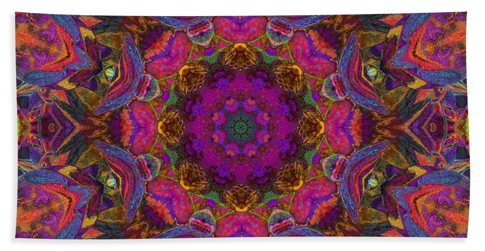 Mandala Beach Towel featuring the mixed media Ajna Wisdom by SiriSat