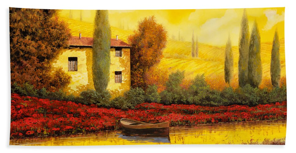 Guido Beach Towel featuring the painting Al Tramonto Sul Fiume by Guido Borelli