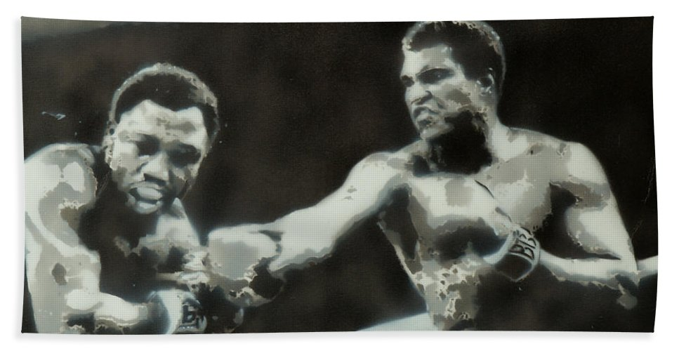 Muhammad Ali Beach Towel featuring the painting Ali Vs Frazier by Barry Boom