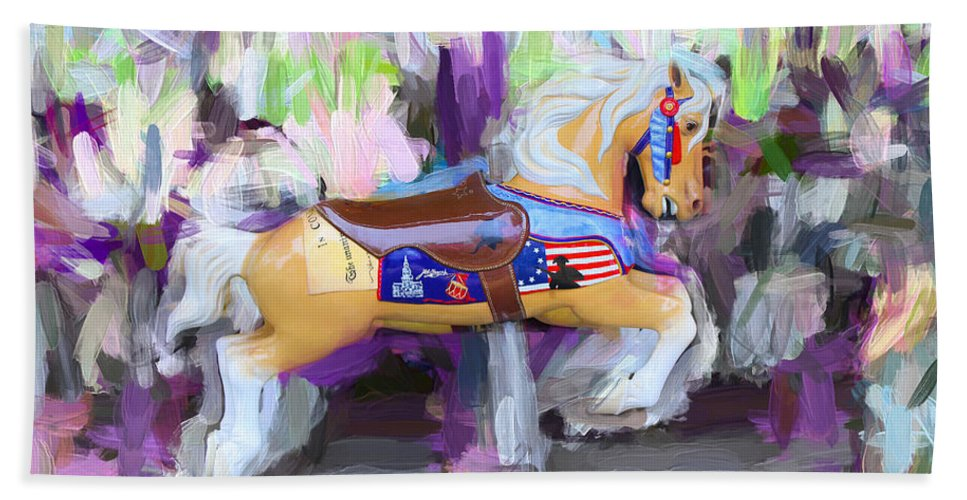 Pony Beach Towel featuring the photograph All American Pony by Carlos Diaz