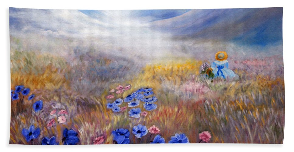 Field Beach Towel featuring the painting All In A Dream - Impressionism by Georgiana Romanovna