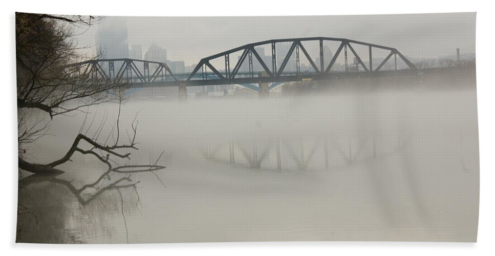 Landscape Beach Towel featuring the photograph Allegheny In The Mist by Jay Ressler