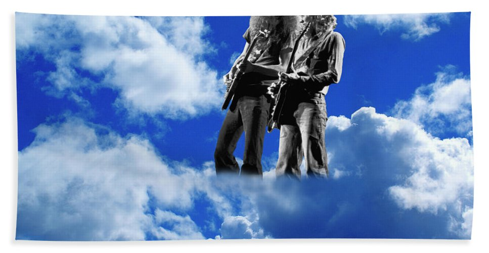 Allen Collins Beach Towel featuring the photograph Allen And Steve In Clouds by Ben Upham