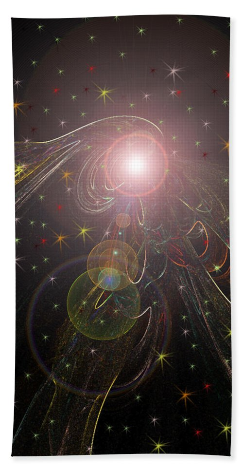 Stars Planet Outter Space Moon Star Nebula Creation Explosion Gasses Black Gold Green Yellow Lime Color Colourful Shining Imaginary World Beach Towel featuring the digital art Alluring Light by Andrea Lawrence