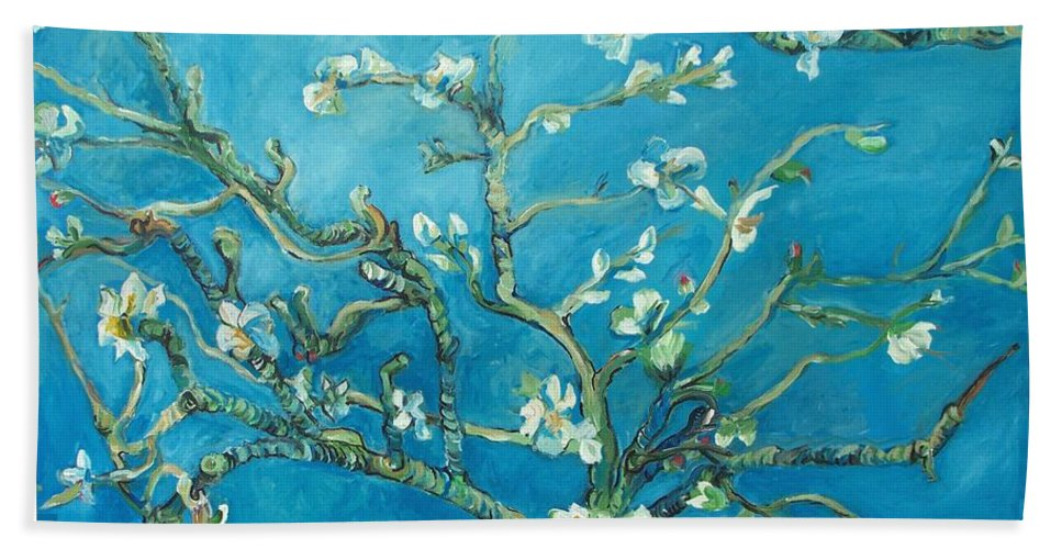Almond Blossom Branches Beach Towel featuring the painting Almond Blossom Branches Print by Eric Schiabor