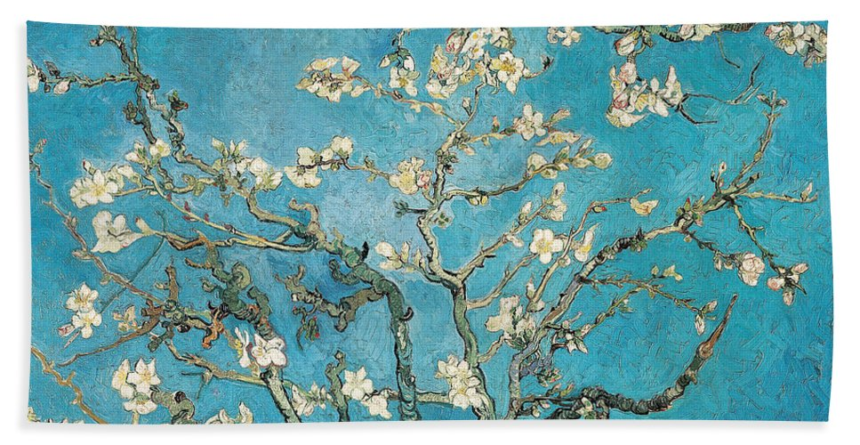 Van Beach Towel featuring the painting Almond branches in bloom by Vincent van Gogh