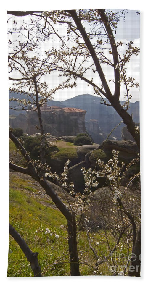 Almond Tree Beach Towel featuring the photograph Almond Tree And Monastery  #9815 by J L Woody Wooden