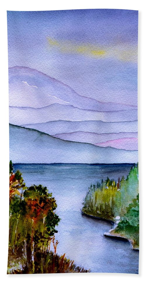 Landscape Beach Towel featuring the painting Almost Autumn by Brenda Owen