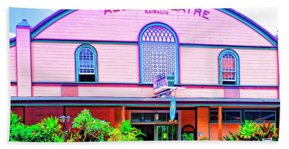 Aloha Theatre Beach Towel featuring the mixed media Aloha Theatre Kona by Dominic Piperata